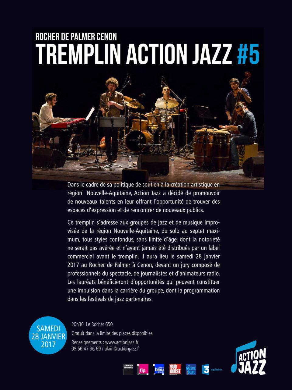 Tremplin Action Jazz 2017, samedi 28/01/2017 20h30, au Rocher de Palmer